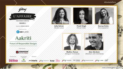 Design Dekko panel at Godrej L'Affaire includes leading designers such as Alan Abraham (Abraham John Architects), Madhav Raman (Anagram Architects), Swarup Dutta (Scenographer), Preeti Singh, Editor - Houzz India and Asha Sairam (Studio Lotus).