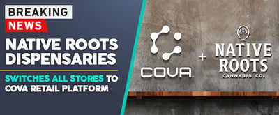 Premier cannabis brand, Native Roots partners with Cova Software to advance store operations and support company's aggressive growth. 22 stores now supported by retail platform. (CNW Group/Retail Innovation Labs Inc.)