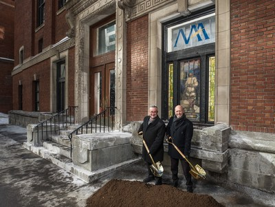 Normand Bélanger, President and CEO of the Fonds immobilier de solidarité FTQ, and Marco Fontaine, Vice President for Development, Sales and Marketing at Devimco Immobilier, breaking ground for the MAA project. (CNW Group/Fonds de solidarité FTQ)