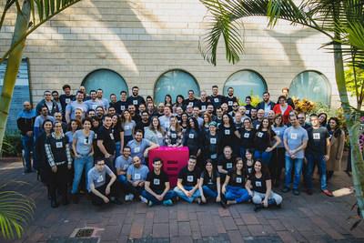 The Elementor team posing at their headquarters near Tel Aviv