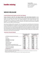 Lundin Mining Fourth Quarter and Full Year Results (CNW Group/Lundin Mining Corporation)