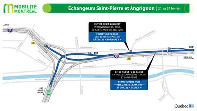Fermetures A20 OUEST et échangeur Saint-Pierre, fin de semaine du 21 février (Groupe CNW/Ministère des Transports)