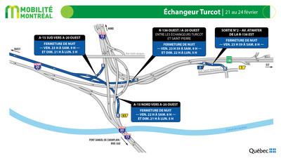 Fermetures échangeur Turcot, fin de semaine du 21 février (Groupe CNW/Ministère des Transports)