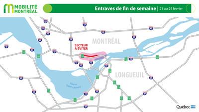 Carte générale des entraves, fin de semaine du 21 février (Groupe CNW/Ministère des Transports)