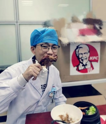 Medical workers enjoying free KFC meals