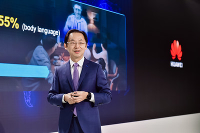 Ryan Ding, executive director of the Board and president of Huawei's Carrier BG, speaks on a 5G product and solution launch in London on Feb. 20