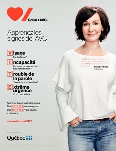 Josée Boudreault est choquée : trop peu de Québécois connaissent les signes de l'AVC (Groupe CNW/Fondation des maladies du coeur et de l'AVC)