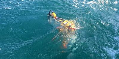A Wirewalker, driven by waves and currents, sits at the ocean's surface during a field campaign led by oceanographers from the U.S. Naval Research Laboratory. The Wirewalker was equipped with a variety of instruments to measure light, conductivity, temperature, depth, light and acoustic backscatter, and dissolved oxygen throughout the water column. The NRL study was focused on characterizing biological ocean swarms. (U.S Navy photo, Brad Penta)