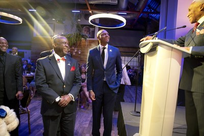 Jason Farmer (left) and AC Wharton (right) congratulate Penny Hardaway (center) on receiving the 2020 Spirit of the Dream Award at the 5th annual St. Jude Spirit of the Dream event.