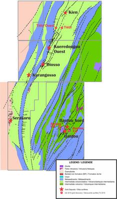 Figure 1 - Carte de localisation des gîtes minéralisés sur le projet Bantou (Groupe CNW/SEMAFO)