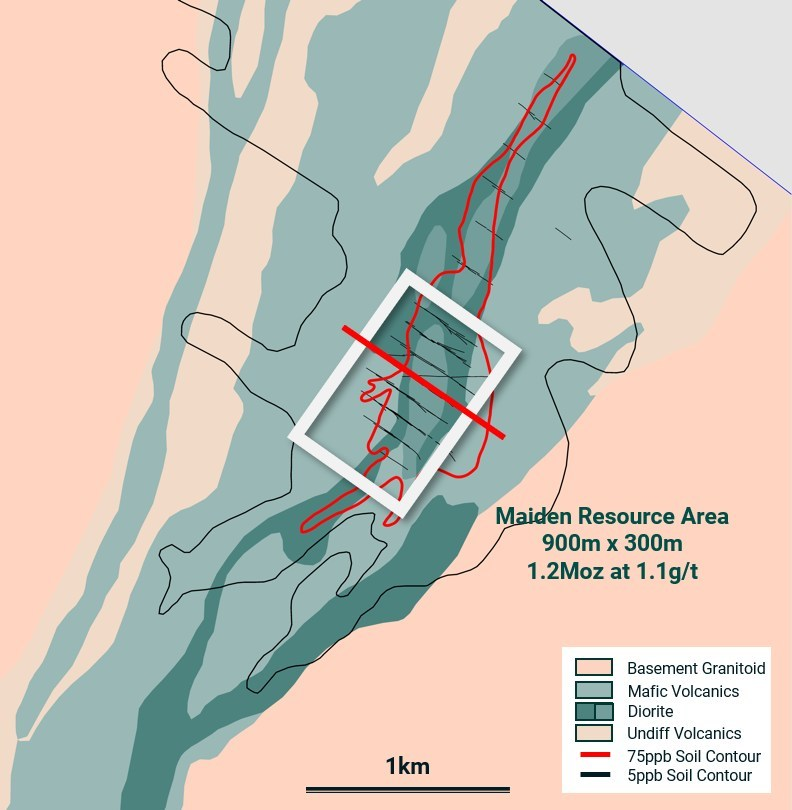Figure 2: Koné Section Location (CNW Group/Montage Gold Corp)