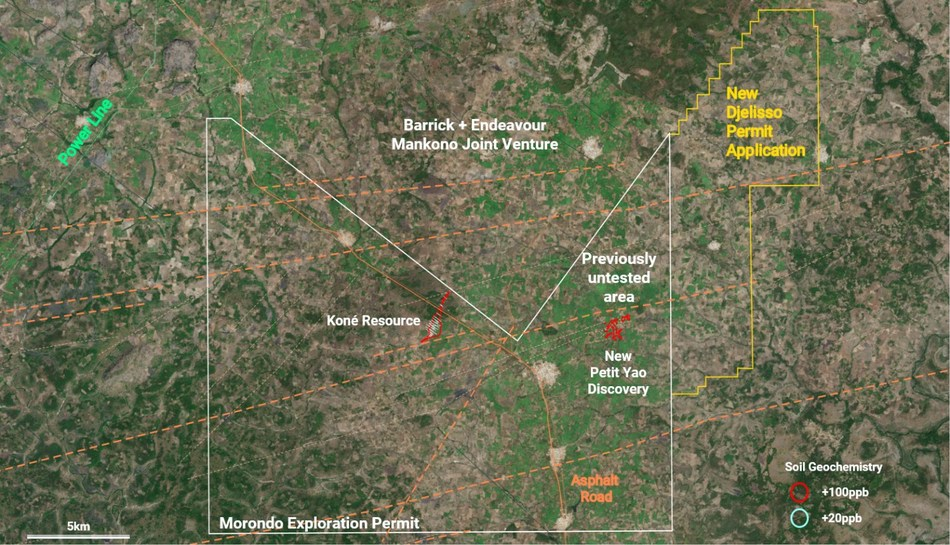 Figure 3: Petit Yao Discovery Location and Djelisso Permit Application area (CNW Group/Montage Gold Corp)