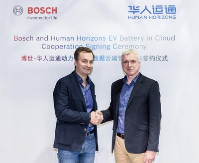 Photo: Mark Stanton, CTO of Human Horizons (right), and Dr. Elmar Pritsch, President of Bosch Connected Mobility Solutions (left), sign further details of the planned cooperation on behalf of their respective companies.
