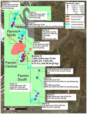 Figure 2. Highlighted results at Fermin Project. Zoomed in maps of the different areas are presented below (CNW Group/Sable Resources Ltd.)