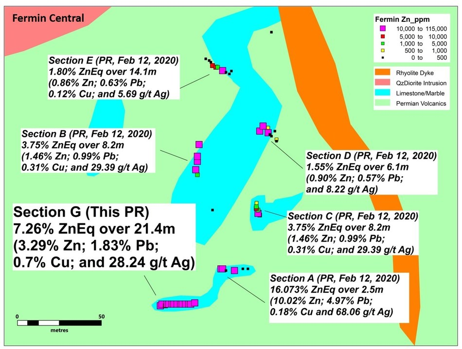 Figure 3. Detail of the Fermin Central area showing Section G and other results previously released (CNW Group/Sable Resources Ltd.)