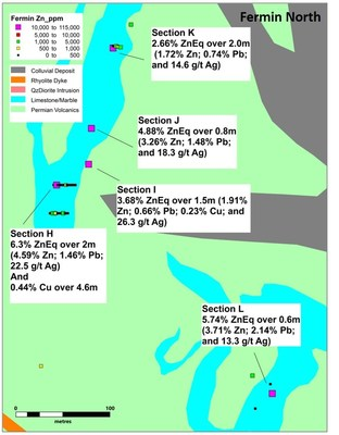 Figure 4. Detail of Fermin North area with new results (CNW Group/Sable Resources Ltd.)