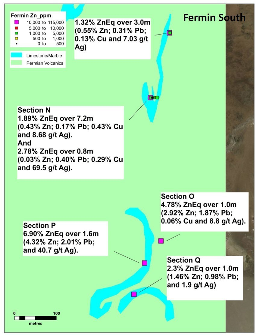 Figure 5. Detail of Fermin North area with new results (CNW Group/Sable Resources Ltd.)