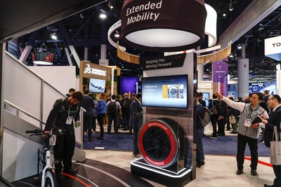 The Bridgestone advanced air free commercial truck tire concept on display at Consumer Electronic Show (CES) 2020.