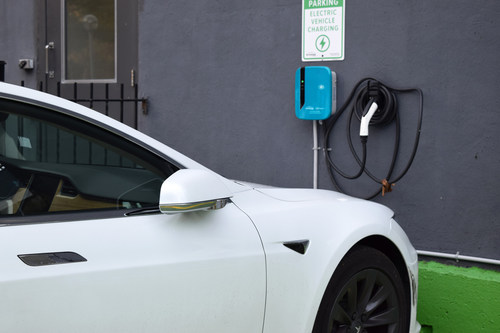 Multi-family and office buildings are eligible for subsidized EV chargers like this one through ChargeLab's initiative. (CNW Group/ChargeLab)