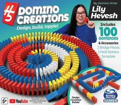 Spin Master reveals H5 Domino Creations™, a new line of dominoes designed for toppling, created in collaboration with YouTube sensation Lily Hevesh. (CNW Group/Spin Master)