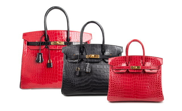 Three rare Hermes Birkin handbags, among over 200 to be sold at auction by Greenwich Luxury Auctions, March 5, 2020.