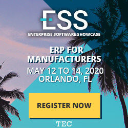 ESS (Enterprise Software Showcase) ERP for Manufacturers is May 12-14, 2020, Orlando, Florida
