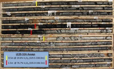 Figure 6 – Drill Hole LE20-32A Core Photo of Mineralization (CNW Group/IsoEnergy Ltd.)