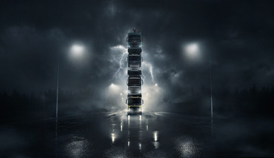 Volvo launches four new trucks by stacking them on top of each other in spectacular film — complete with President on top