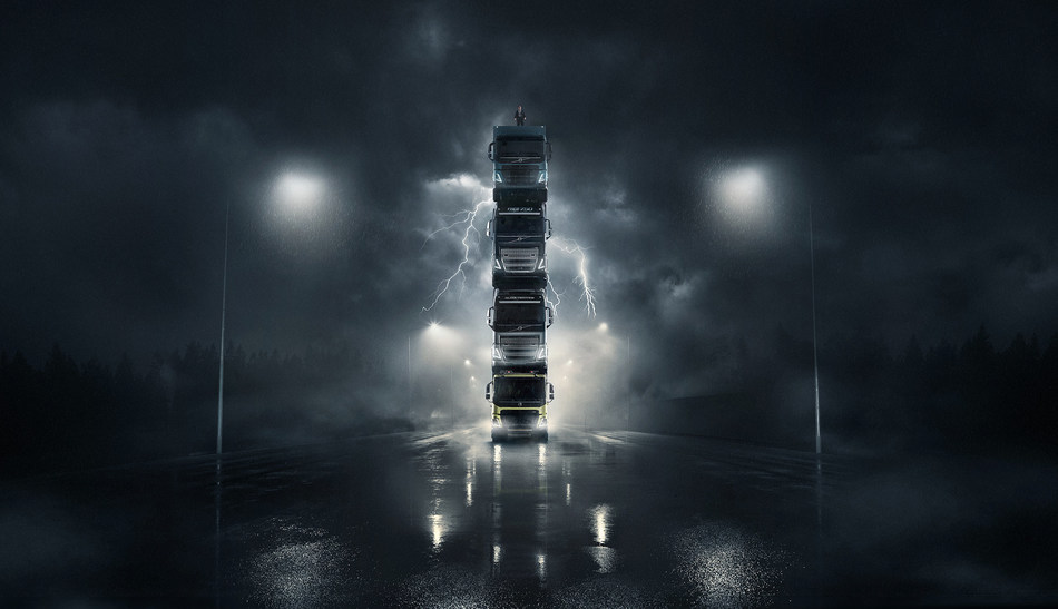 Volvo launches four new trucks by stacking them on top of each other in spectacular film -- complete with President on top