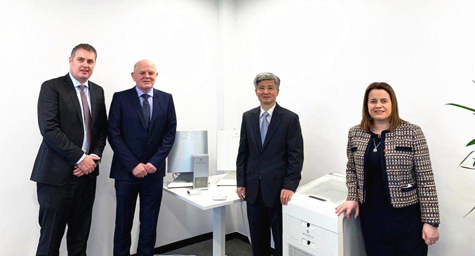 (Left-to-Right): Tom Cusack, Enterprise Ireland, Kevin Devlin, Novaerus, Chinese Ambassador to Ireland, Mr He Xiangdong, Elaine Coughlan, Co-Founder and Managing Partner of Atlantic Bridge (PRNewsfoto/Novaerus)