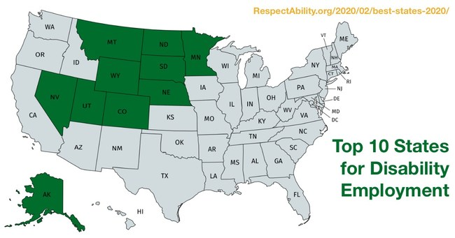This map shows the top 10 states with the lowest employment gap between people with and without disabilities.