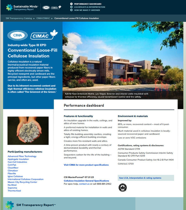 Preview of Sustainable Minds EPD for Cellulose Insulation