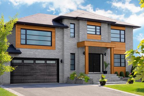 Garaga Garage Door Displayed: Shaker-Modern XL Design, 16x8 Size, Iron Ore Walnut Color, and SatinWindows