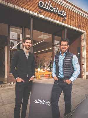 Pictured left to right: Kevin Campos, a Partner at Fifth Wall, who leads the Retail Fund's investments in omnichannel brands, pictured with the firm's Co-Founder and Managing Partner Brendan Wallace outside portfolio company Allbirds' store in Venice, CA.