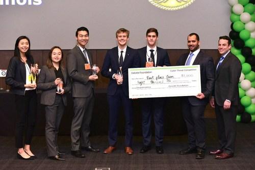 From left to right: Michelle Liu (Deloitte Cyber), Grace Nie (U of I Student), Lucas Wang (U of I Student), Nick Rappe (U of I Student), Jeremy Pietrowski (U of I Student), Jordyn Cosme (Deloitte Cyber), Anthony Russo (Deloitte Cyber Principal)