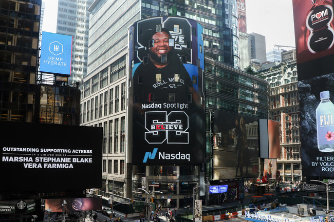 Eric LeGrand has been featured multiple times outside the NASDAQ Building in Times Square.