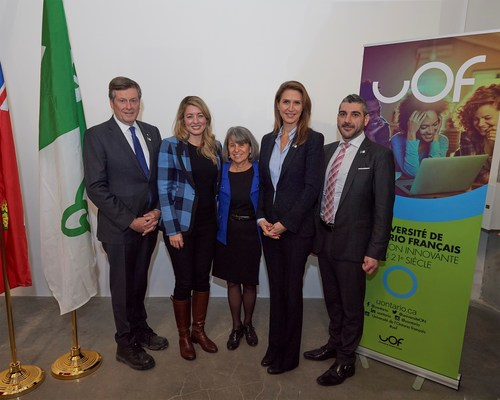 Mr. John Tory, Mayor of Toronto, Ms. Mélanie Joly, Minister of Economic Development and Official Languages (Canada), Ms. Dyane Adam, Chair of the Board of Governors of the Université de l'Ontario français, Ms. Caroline Mulroney, Minister of Transportation and Francophone Affairs (Ontario), Mr. Ross Romano, Minister of Colleges and Universities (Ontario) (CNW Group/Université de l'Ontario français (UOF))