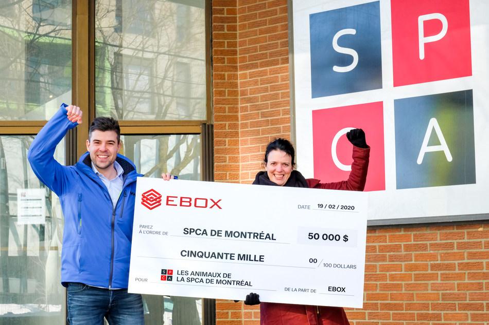 EBOX remet 50 000 $ à la SPCA de Montréal! (Groupe CNW/EBOX)