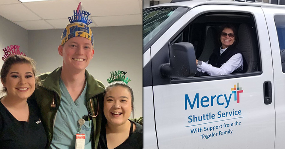 Dr. Charles Albritton celebrates his Leap Day birthday with Mercy co-workers. Cindy Huelsing, a shuttle driver, is one of only 33 Mercy co-workers with a Leap Day birthday.