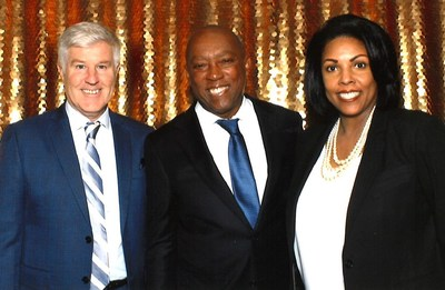 Timothy Walsh, President of GCR's Critical Infrastructure division, Mayor Sylvester Turner, and Lynette Lapeyrolerie, GCR's Business Development Manager at the 2020 Champions of Diversity where GCR was honored by the City of Houston as the Professional Services Prime Contractor of the Year.
