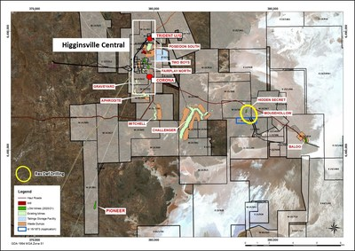 Figure 1:  Location of Hidden Secret and Mousehollow drilling and the Higginsville Central project area (CNW Group/RNC Minerals)