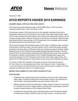 ATCO Ltd. 2019 Year End Financial Release. (CNW Group/ATCO Ltd.)