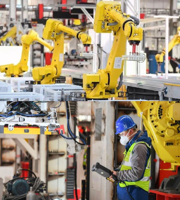 Robots work in the No. 18 intelligent manufacturing factory of SANY Concrete Machinery BU  in Changsha, China.