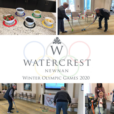 Residents of the newly-opened Watercrest Newnan Assisted Living and Memory Care enjoy a day of competition celebrating the Watercrest Winter Olympic Games 2020.