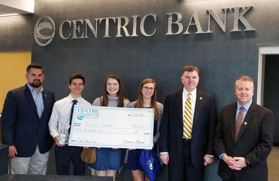 Centric Bank's first-place winner of Lights, Camera, Save!, Sarah Camilleri, Spring-Ford High School, Montgomery County, received her $500 prize at the Devon Financial Center along with her production crew. L to R: Centric Bank Market Leader Main Line Christopher Bickel, Nick Elsner, McKinley Linn, Sarah Camilleri (winner), Centric Bank Director of Cash Management and Treasury Services Timothy Merrell, and Devon Financial Center Manager Martin Haenn.