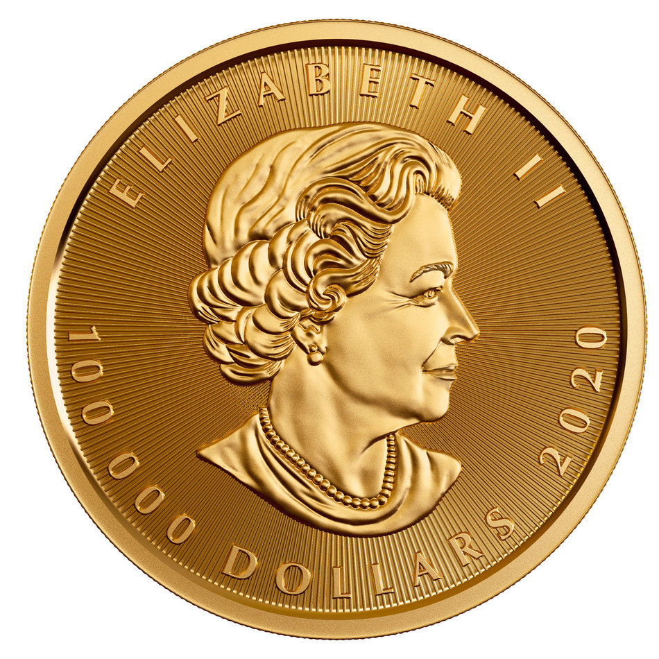 The Royal Canadian Mint's 10 Kilo 99.999% Pure Gold Maple Leaf Coin (Obverse)