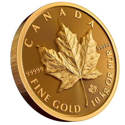 La moneda de hoja de arce de 10 kilos de oro puro al 99,999%, acuñada por la Real Casa de la Moneda de Canadá (CNW Group/Royal Canadian Mint)