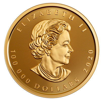 The Royal Canadian Mint's 10 Kilo 99.999% Pure Gold Maple Leaf Coin (Obverse) (CNW Group/Royal Canadian Mint)