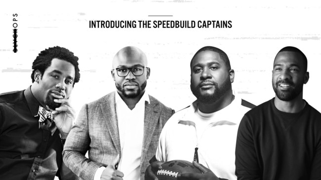 BLVCKOPS SpeedBuild captains Dhani Jones, Justin Forsett, Marshall Newhouse and Spencer Paysinger (L-R)
