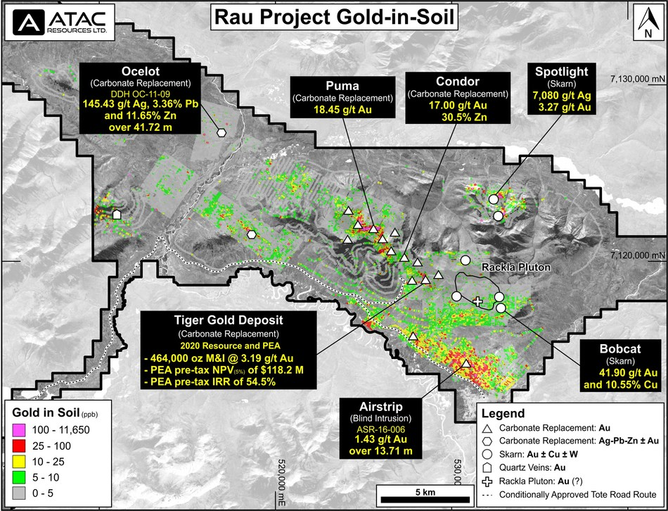 Rau Project Gold-in-soil (CNW Group/ATAC Resources Ltd.)